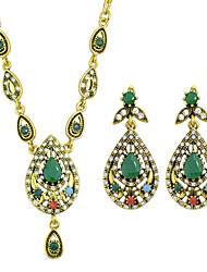 Colorful Rhinestone Necklace Earrings Stone Jewelry Set