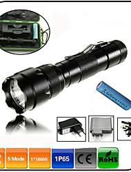 LED Taschenlampen LED 1000 Lumen 5 Modus Cree XM-L T6 1 x 18650 Batterie einstellbarer Fokus Stoßfest Wiederaufladbar Wasserfest für
