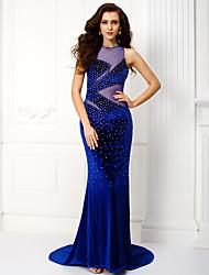 Trompeta / Sirena Joya Corte Terciopelo Evento Formal Gala de Etiqueta Vestido con Detalles de Cristal por TS Couture®