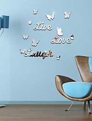 DIY Mirror Stickers Butterfly Live Love Laugh Wall Stickers Home Decor Art Wall Decal For Kids Rooms