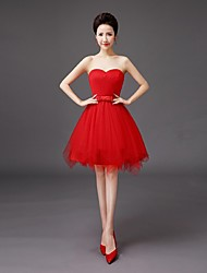 A-Line Sweetheart Knee Length Tulle Bridesmaid Dress with Bow by QQC Bridal