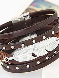 cheap -Leather Bracelet Personalized Unique Design Vintage Cute Party Work Casual Fashion European Leather Alloy Others Feather Jewelry Party