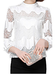 cheap -Women's Lace Spring Stand Collar Lantern Sleeve OL Work Casual Chiffon Lace Blouse Shirt