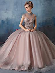 De Baile Princesa Ilusão Decote Longo Renda Tule Evento Formal Vestido com Renda Lantejoulas de Huaxirenjiao
