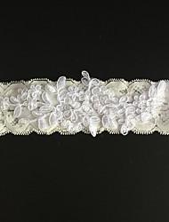 cheap -Stretch Satin Fashion Wedding Garter with Rhinestone Flower Garters