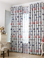 Two Panels cars Kids  Blackout Printing Curtain