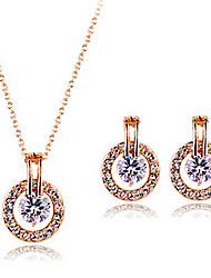 cheap -Jewelry Set Cute Party Work Zircon Cubic Zirconia Rose Gold Plated Necklace Earrings