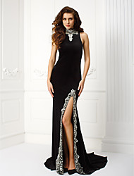 Sheath / Column High Neck Court Train Velvet Prom Black Tie Gala Dress with Beading by TS Couture®