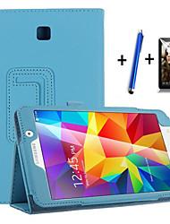 billiga -fodral Till Samsung Galaxy med stativ / Automatiskt sömn- / uppvakningsläge / Lucka Fodral Enfärgad Hårt PU läder för Tab 4 7.0
