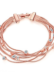 cheap -Women's Chain Bracelet Fashion Rose Gold Rhinestone Imitation Diamond Rose Gold Plated Alloy Jewelry Wedding Party Daily Costume Jewelry