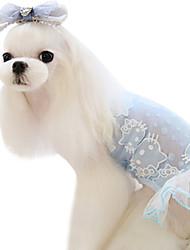 baratos -Cachorro Vestidos Roupas para Cães Laço Verde Azul Algodão Ocasiões Especiais Para animais de estimação Homens Mulheres Fashion