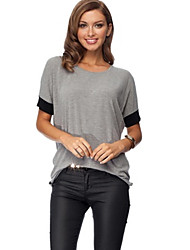 cheap -Women's Color Block Black / Gray T-shirt , Round Neck Short Sleeve