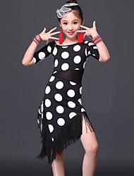 cheap -Latin Dance Dresses Performance Milk Fiber Tassel Dress Shorts