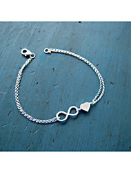 cheap -Silver Heart 8 Shape Chain & Link Bracelet Jewelry