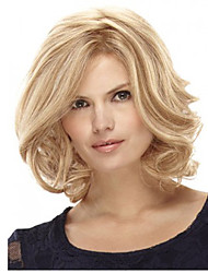 cheap -Synthetic Wig Curly Bob Haircut / With Bangs Synthetic Hair Side Part Blonde Wig Women's Medium Length Capless