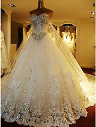cheap -A-Line Sweetheart Cathedral Train Lace Over Tulle Custom Wedding Dresses with Beading by LAN TING Express