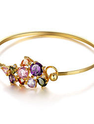 cheap -Fshion Party Accessories Colorful Cubic Zirconia Cuff Bangle 18K Gold Plated Bracelets & Bangles For Women