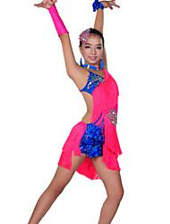 preiswerte -Latein-Tanz Austattungen Leistung Elasthan Quaste Kleid / Ärmel / Unterhose / Latintanz