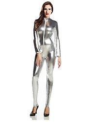 cheap -Zentai Suits Ninja Zentai Cosplay Costumes Silver Solid Colored Leotard / Onesie Zentai Spandex Shiny Metallic Men's Women's Halloween