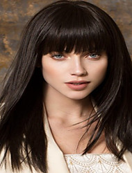 Women Synthetic Wig Capless Medium Straight Black With Bangs Halloween Wig Carnival Wig Costume Wigs
