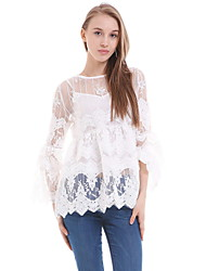 cheap -Women's Blouse - Solid Colored Lace Cut Out