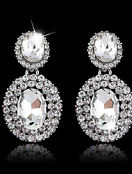 Lady's Silver AAA Zircon Stone Drop Earrings for Wedding Party Jewelry