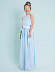 Sheath / Column Halter Floor Length Chiffon Junior Bridesmaid Dress with Sash / Ribbon by LAN TING BRIDE®