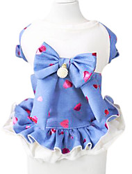 cheap -Dog Dress Dog Clothes Bowknot Dark Blue Blue Cotton Costume For Pets Summer Women's Cute Fashion