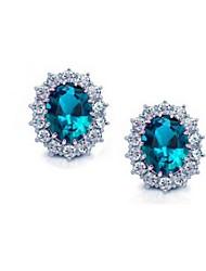 Feminino Brincos Curtos bijuterias Cristal Jóias Para Casamento Festa Diário Casual