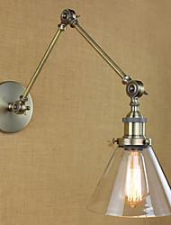 Iron Plating Bronze Bar Aisle Dining Room Hotel Vintage Iron Arm Glass Wall Lamp Lighting