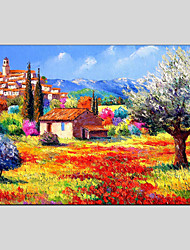 cheap -Hand-Painted Landscape Horizontal Panoramic, Classic European Style Modern Pastoral Realism Canvas Oil Painting Home Decoration One Panel