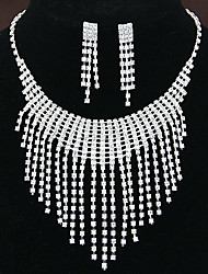 Women's Shiny Elegant Luxury Rhinestone Tassel Bridal Sets Bridal Accessories Necklace Earrings Set Wedding Party Gift