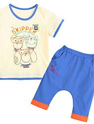 preiswerte -Jungen Kleidungs Set Baumwolle Sommer Kurzarm Beige
