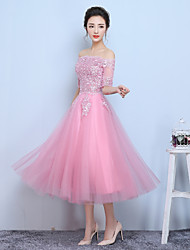 A-Line Bateau Neck Tea Length Tulle Formal Evening Dress with Beading Appliques by Xiangnan