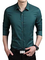 cheap -Men's Fashion Business Casual Printing Slim Fit Long Sleeved Shirt