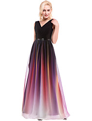 A-Line V-neck Floor Length Chiffon Prom Formal Evening Dress with Beading Lace Side Draping by aimibridal