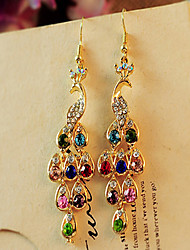 cheap -Women's Drop Earrings Bohemian Costume Jewelry Cubic Zirconia Rhinestone Gold Plated Peacock Jewelry For
