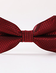 cheap -Men's Party/Evening Wedding Formal Wine Red Plaid Polyester Bow Tie