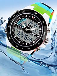 cheap -Men's Quartz Japanese Quartz Wrist Watch Calendar / date / day Chronograph Water Resistant / Water Proof LED Dual Time Zones Silicone Band