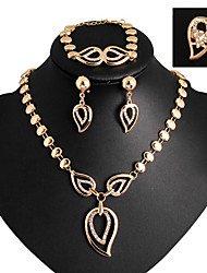baratos -Mulheres Zircônia Cubica / Imitações de Diamante Fofo Conjunto de jóias Bracelete / Brincos / Colares - Luxo / Festa / Trabalho Dourado /