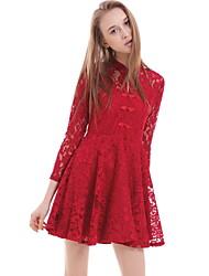 vestito di una linea solida casuale / il giorno delle donne boutique s, girocollo sopra poliestere ginocchio