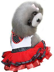 abordables -Chien Robe Vêtements pour Chien Points Polka Violet Rouge Coton Costume Pour les animaux domestiques Femme Mode