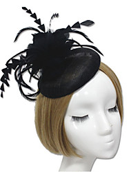 Lady's Linen Feather Fascinator Hat Headband for Wedding Party Hairpins