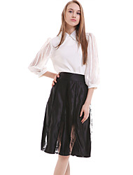cheap -Women's Daily Knee-length Skirts,Casual A Line Silk Polyester Solid Spring Fall