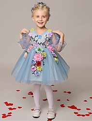 cheap -A-Line Short / Mini Flower Girl Dress - Organza Long Sleeves V Neck with Flower by LAN TING Express