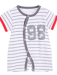 cheap -Baby Unisex Striped Overall & Jumpsuit, Cotton Summer Short Sleeves White