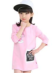 cheap -Girl's Cotton Spring / Fall Cartoon Pattern Round Collar  Soft  Comfortable Long T-Shirt