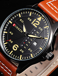 cheap -CURREN® Mens Watches Relogio Sports Time Module Quartz Watches Luminous Hands Date Day Watch Military Army Leather Wrist Watch Cool Watch Unique Watch