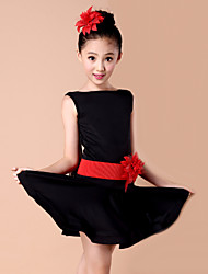 Dança Latina Vestidos Crianças Actuação Elastano Fibra de Leite Flor(es) 2 Peças Vestidos CintoS :58 M :61 L :64 XL :67 XXL :71 XXXL :75