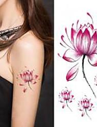 abordables -flor de loto Halloween 1pc etiqueta engomada del tatuaje impermeable